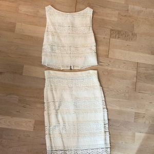 Alice + Olivia white two piece skirt and top